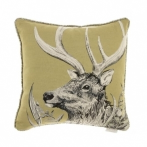 Darby Mustard Square Cushion - Stag