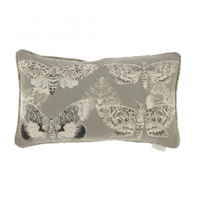 Voyage Maison Natural History Multi Moths Rectangular Cushion - Charcoal