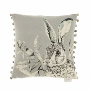 Pounce Silver Square Cushion - Hare