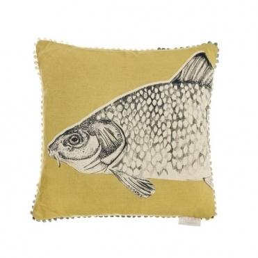 River Carp Square Cushion - Mustard