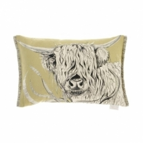 Rudy Mustard Rectangular Cushion - Highland Cow
