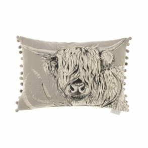 Rudy Silver Rectangular Cushion - Highland Cow