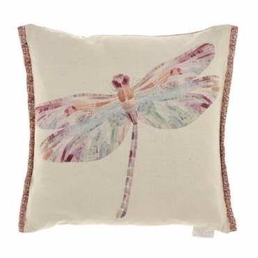 Dragonfly Loganberry Square Cushion
