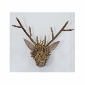 Wooden Stag Head - Wall Mounted