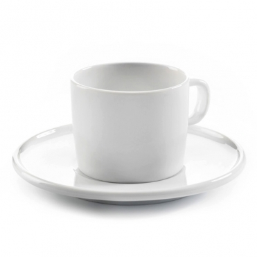 White Mocha Cup & Saucer - Set Of 2