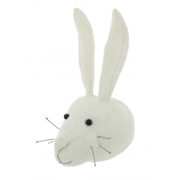 White Rabbit Felt Animal Wall Head - Mini