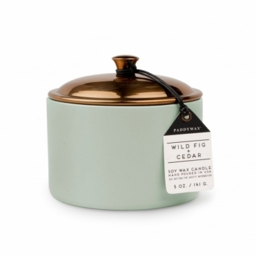 Wild Fig & Cedar 5oz Scented Candle - Ceramic & Copper Lid