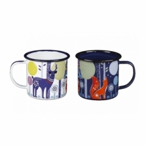 Blue & White Enamel Mugs - Set of 2