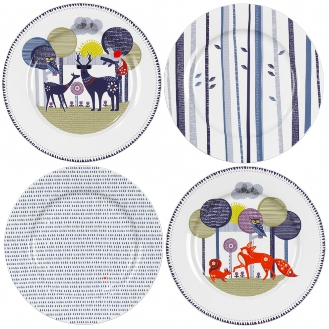 Wild & Wolf Folklore Ceramic Plates - Set of 4