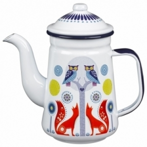 White Enamel Tea / Coffee Pot
