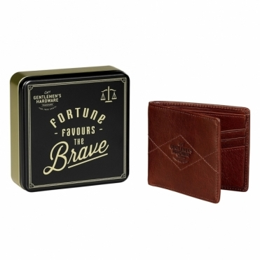 Bi Fold Leather Wallet - Gift Tin