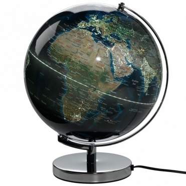 World's City Night Lights Illuminated Globe Lamp 12""