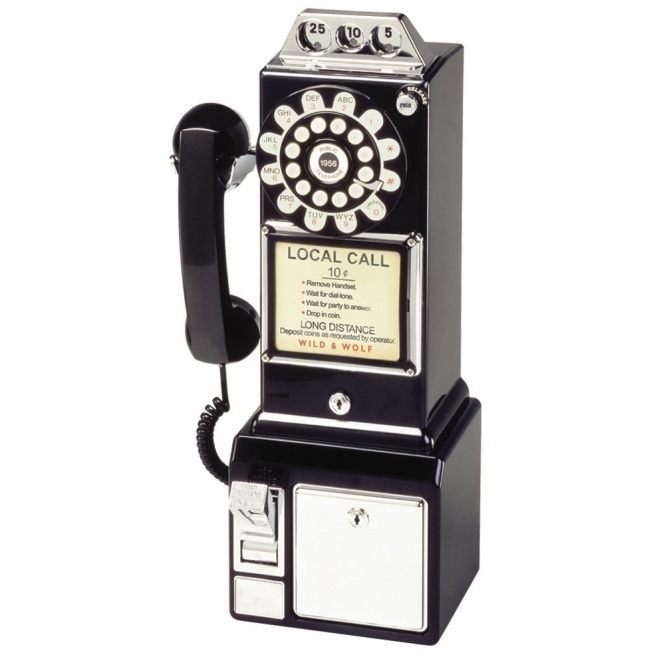 Wild & Wolf Telecommunications 1950's American Diner Push Button Telephone Black Phone