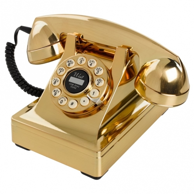 Wild & Wolf Telecommunications 302 Gold Push Button Telephone 1930's Style Phone