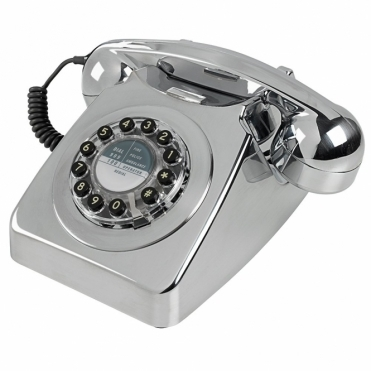 746 Chrome Brushed Push Button Telephone Retro Phone