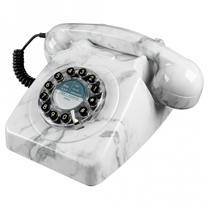 Wild & Wolf Telecommunications 746 Marble Push Button Telephone Retro Phone