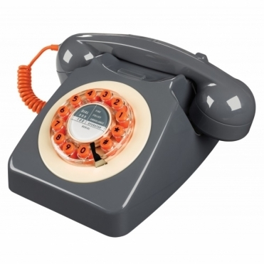 Retro 746 Push Button Telephone Concrete Grey & Orange Phone