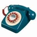 Wild & Wolf Telecommunications Retro 746 Push Button Telephone Petrol Blue & Red Phone