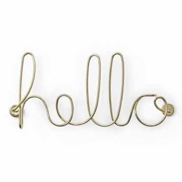 Wire Hello Wall Decor - Brass
