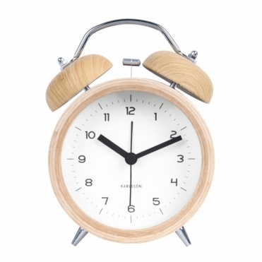 Wood Classic Bell Alarm Clock - White Dial