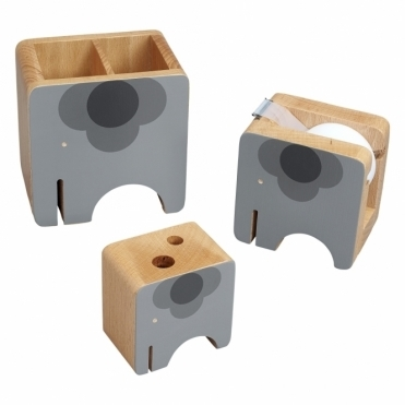Wooden Ela Elephant Desk Accessories - Set of 3