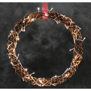 Wooden Twigs Christmas Wreath Warm White LED's