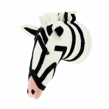Zebra with Pink Nose Felt Animal Head Wall Mounted